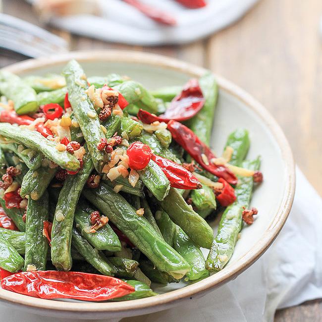 Sichuan Dry-Fried Long Beans Recipe — Dishmaps