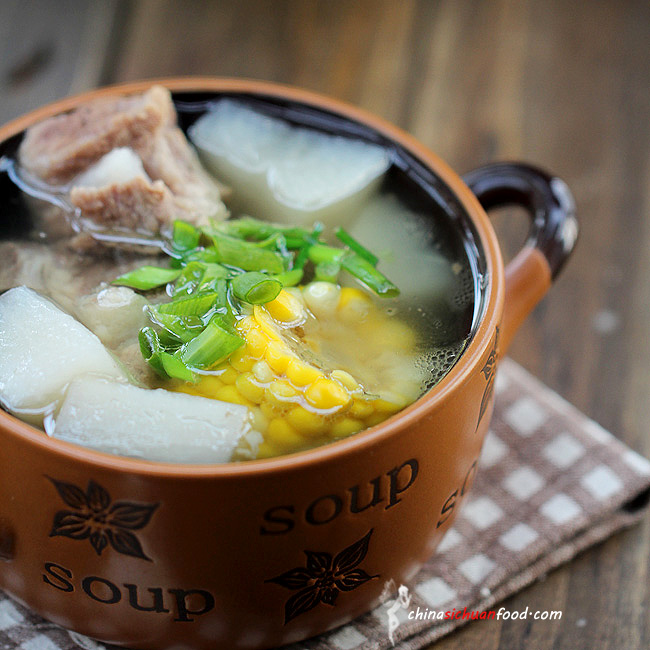 Healthy Pork Soup with Radish and Corn