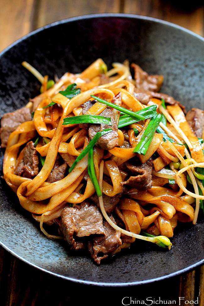 Beef Chow Fun Noodles Pan Fried Ho Fun China Sichuan Food
