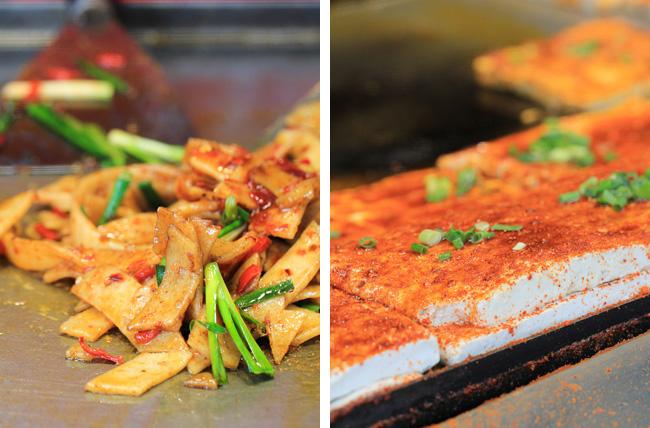 stir-fried erkuai and stuffed tofu
