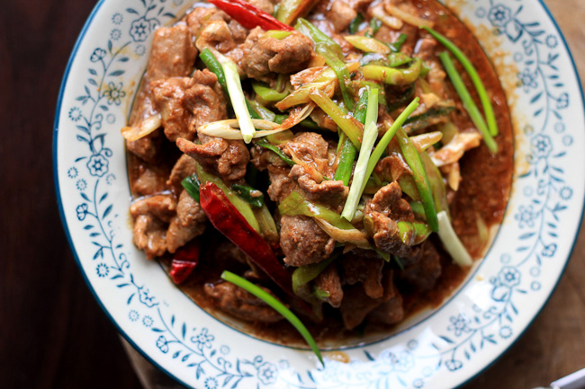 scallion beef stir fry-Chinese Mongolian Beef