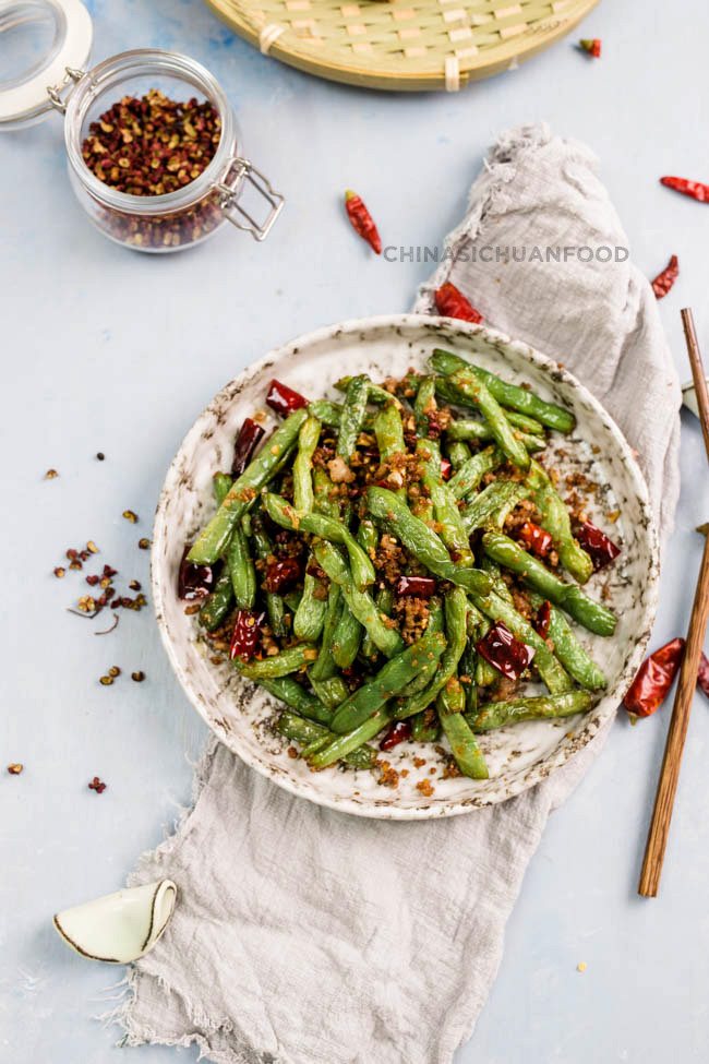 Szechuan dry-fried green beans quick version| chinasichuanfood.com
