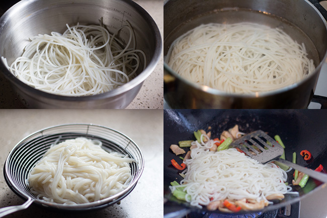 chicken rice noodles steps