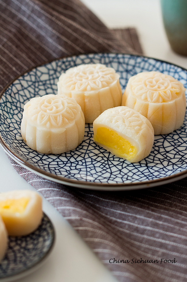 snow skin mooncake with custard filling
