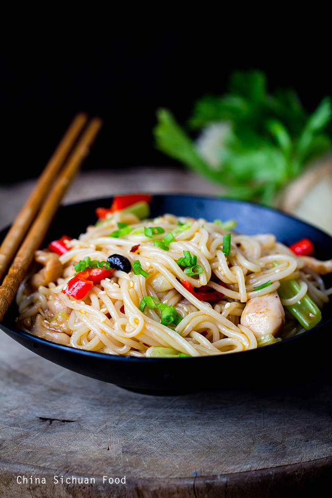 rice stick noodles stir fry