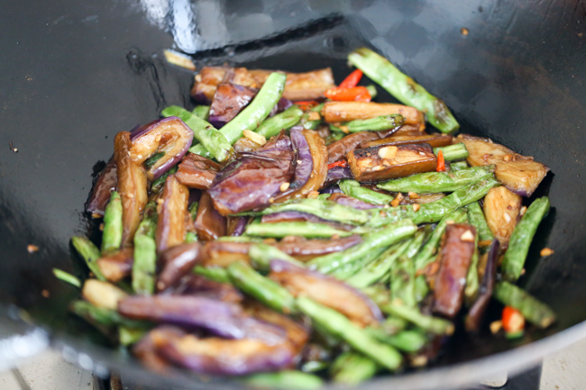 braised eggplants with green beans-5
