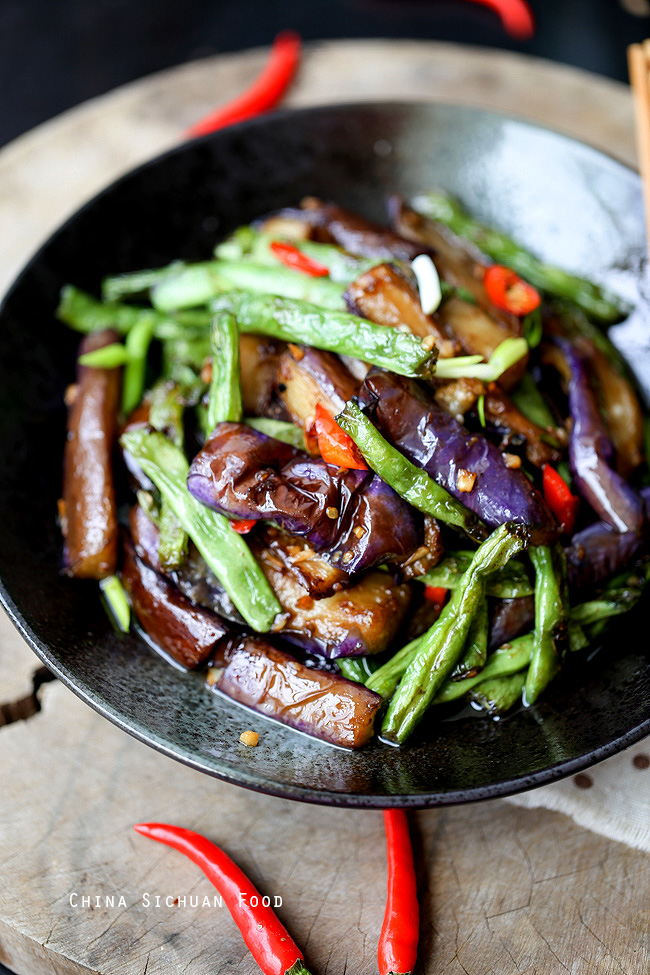 Eggplants with green beans