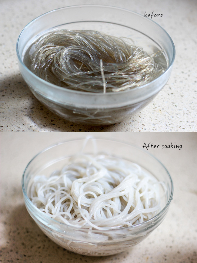 glass noodles and shredded cabbage stir fry step1