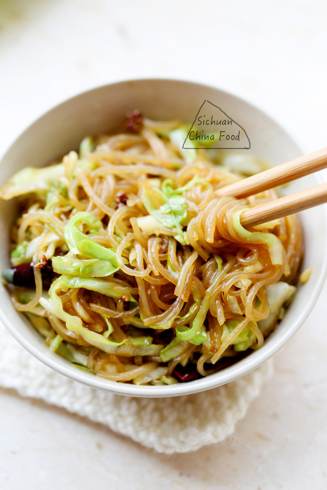 shredded cabbage & glass noodle stir fry