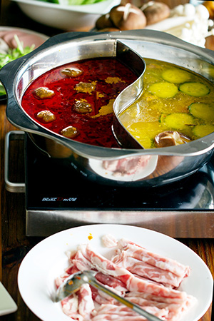 Chinese hot pot e-cookbook--double soup hot pot