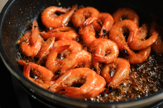 Chinese stir-fried shrimp with ketchup