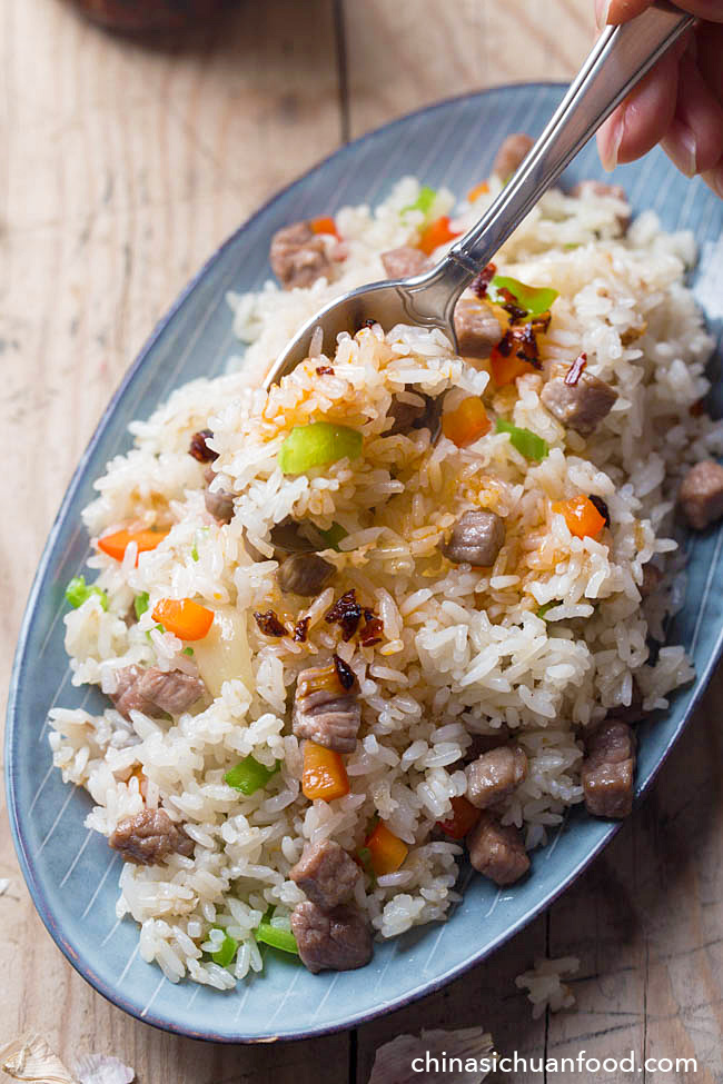 Garlicky Beef Fried Rice | China Sichuan Food