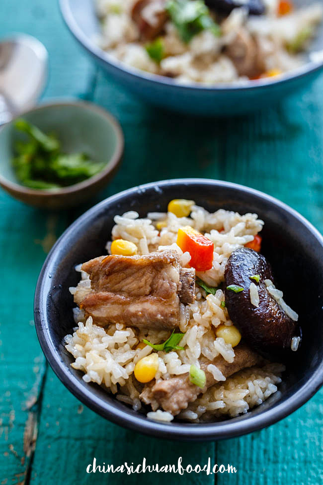 One pot rice with ribs and corns