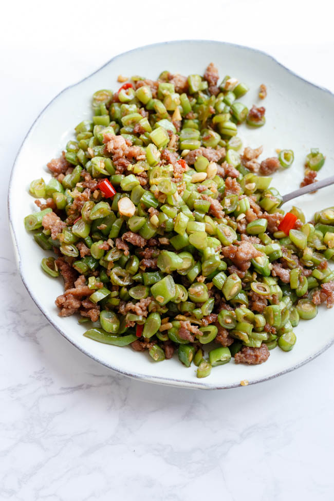 green beans with minced pork stir fry
